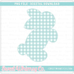 Mint Check Faux Applique Bunny PNG Design