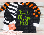 No Tricks Halloween Black Stripe Pajama Mock Up