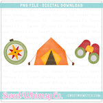 Orange Camping Trio PNG Design