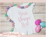 Pastel Dots Easter Egg Short Sleeve Ruffle Shirt Mock Up