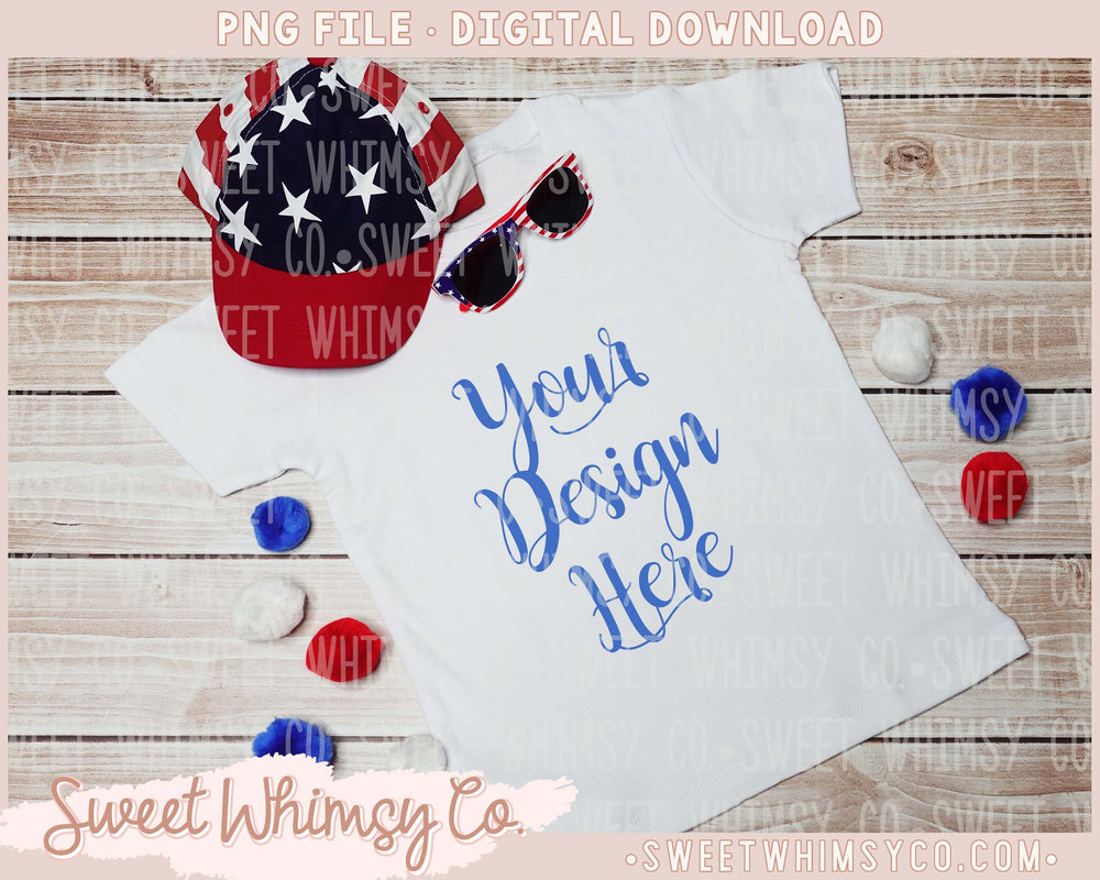Patriotic Pom Pom Hat Sunglasses Short Sleeve Tee Mock Up