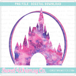 Pink & Purple Rainbow Castle PNG Design
