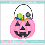 Pink Trick or Treat Pumpkin Candy Bucket PNG Design