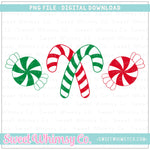Red and Green Peppermint Trio PNG Design