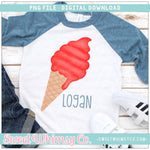 Red Ice Cream Cone PNG Design