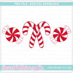 Red Peppermint Trio PNG Design