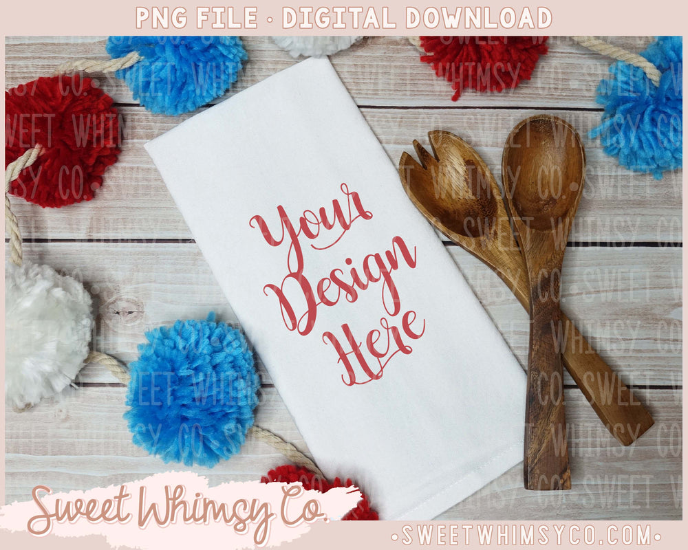Red, White, Blue Pom Pom Dish Towel Mock Up