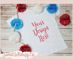 Red, White, & Blue Pom Pom Short Sleeve Tee Mock Up