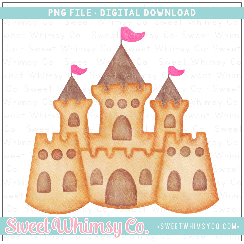 Sandcastle Pink Flags PNG Design
