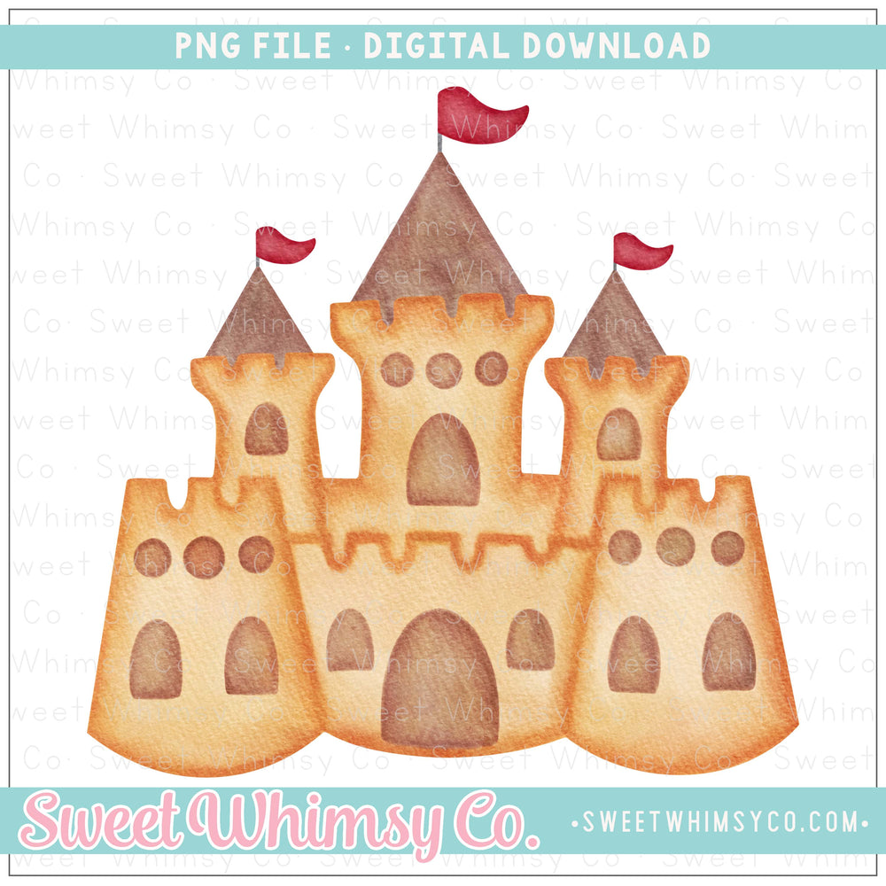 Sandcastle Red Flags PNG Design
