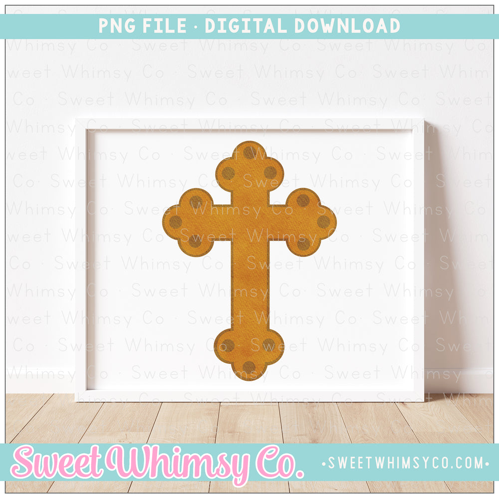 Gold Scallop Cross PNG Design