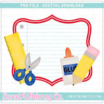 School Supplies Scallop Frame PNG Design