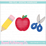 School Supplies Trio PNG Design