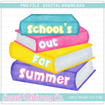 School's Out For Summer Pink Books PNG Design