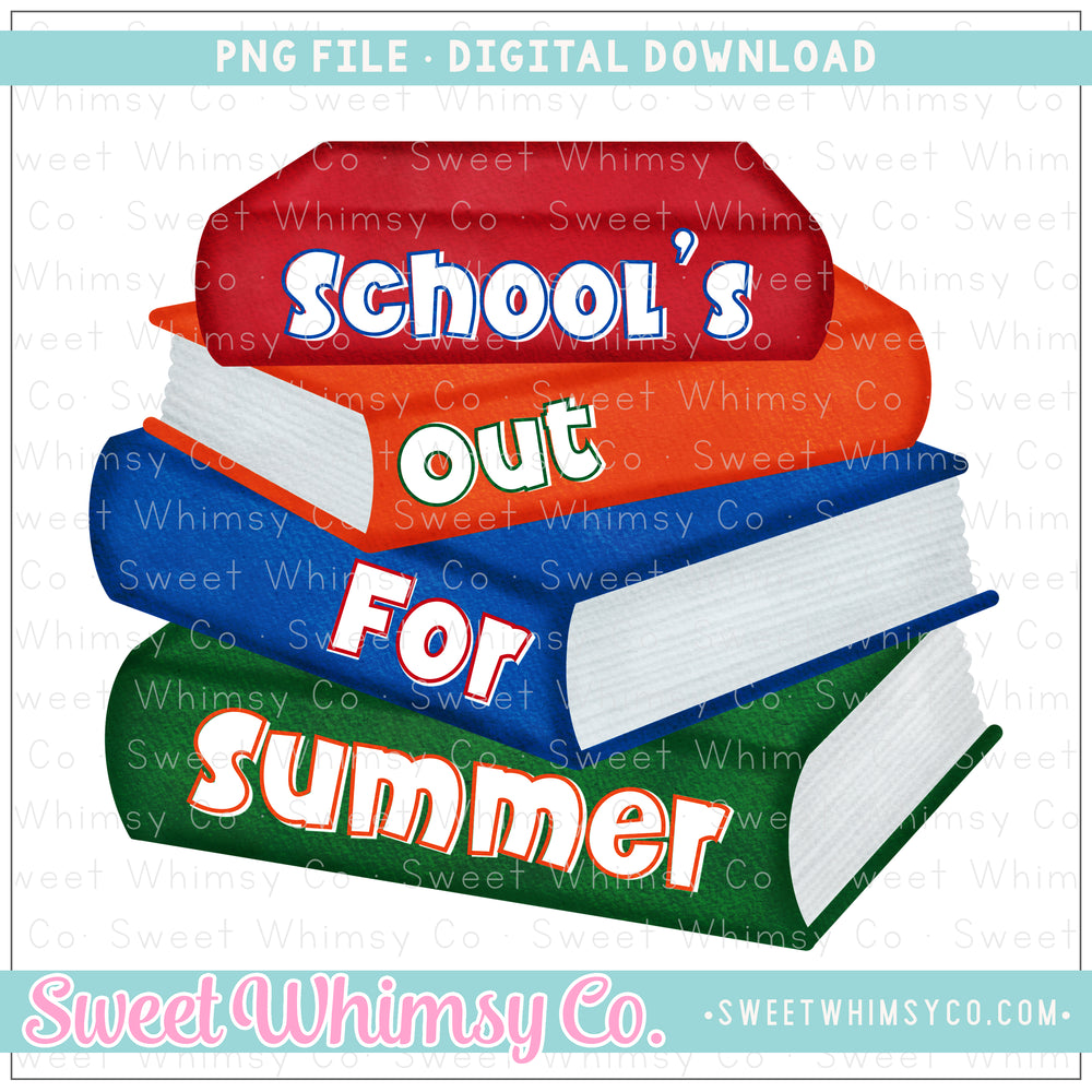 School's Out For Summer Red Books PNG Design