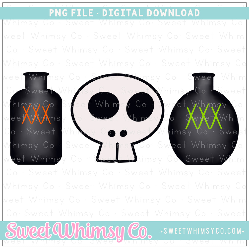 Skull & Potions Trio PNG Design