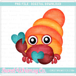 Heart Snapping Crab PNG Design
