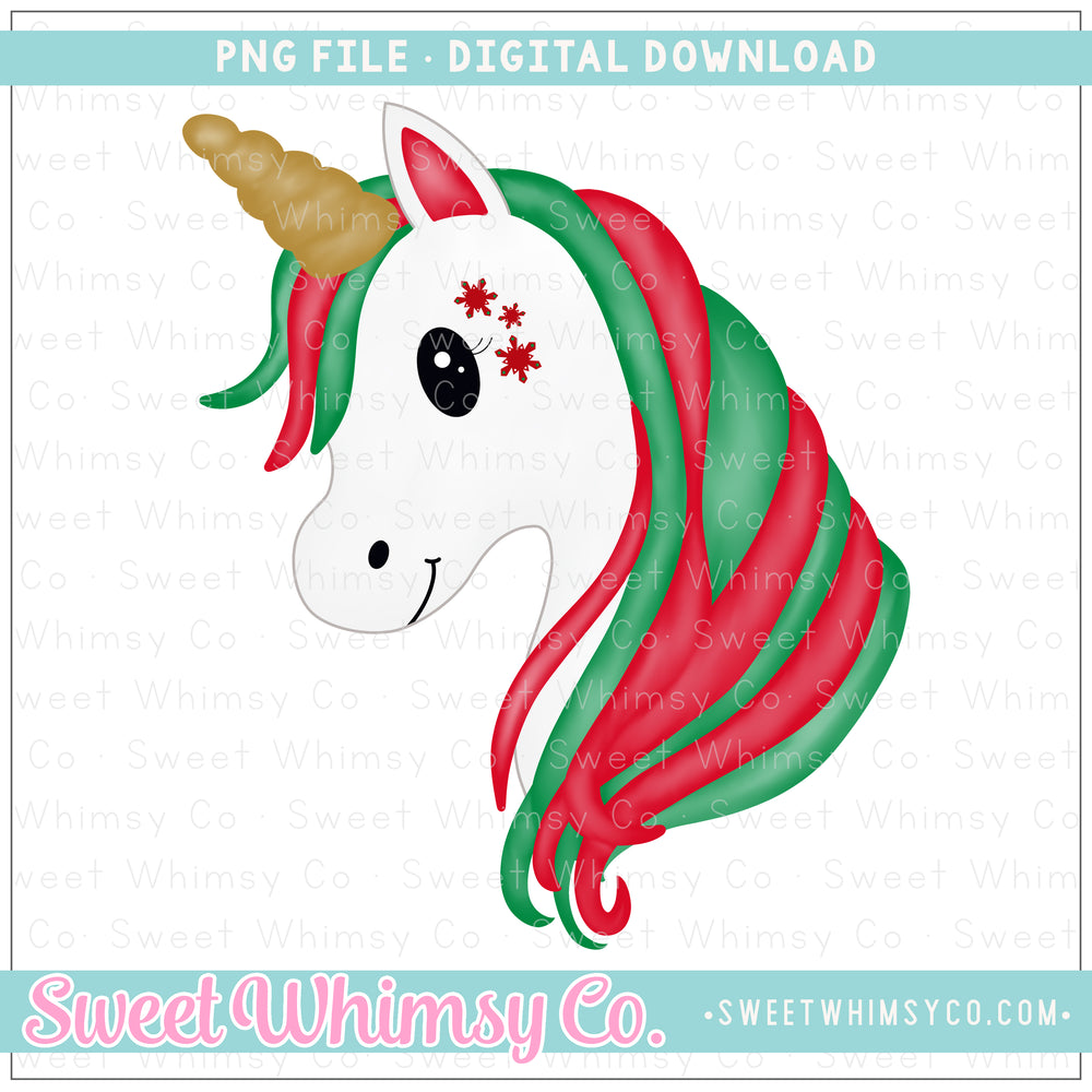 Christmas Snowflake Unicorn PNG Design