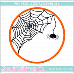Spider Web Monogram Frame Orange PNG Design