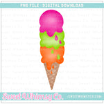 Summer Stacked Ice Cream Cone PNG Design