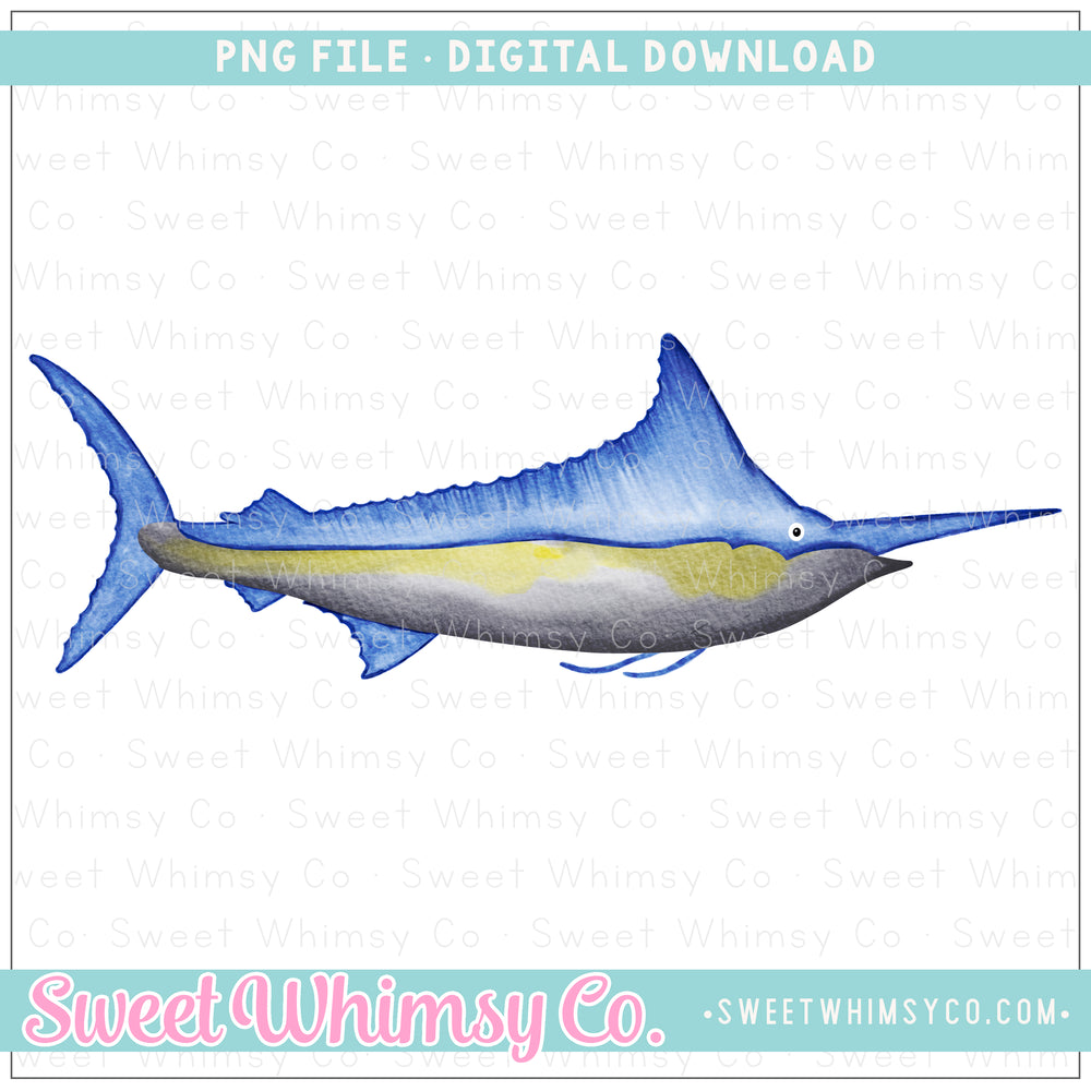 Swordfish Watercolor PNG Design