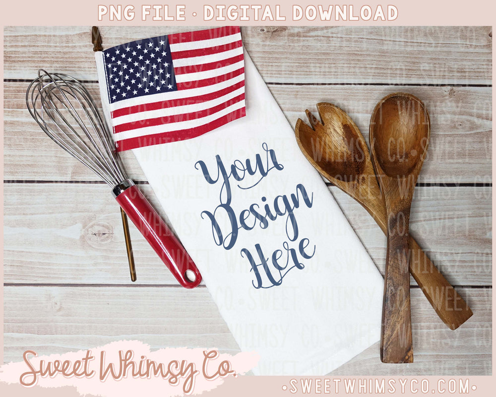 USA Flag Dish Towel Mock Up