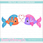 Valentine Fish Duo PNG Design
