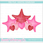 Starfish Hearts Trio PNG Design