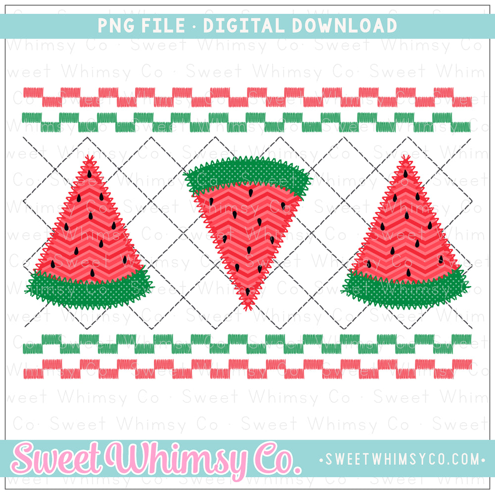 Watermelon Faux Smock PNG Design