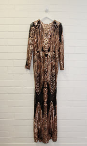 Black mesh gown with gold sequin (long sleeve)