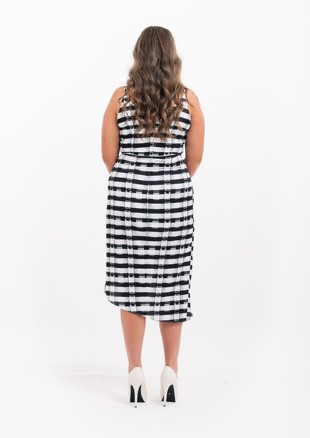 Silky Check Strappy Wrap Dress