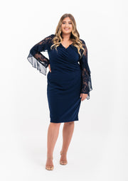 Deidra Contour Lace Sleeve Dress