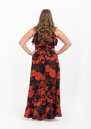 Floral Print Frill Detail Wrap Maxi Dress