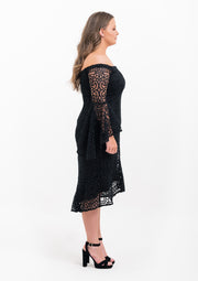 Off Shoulder Placement Lace Dress