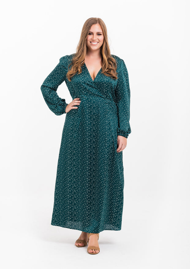 Spot Balloon Sleeve Wrap Dress