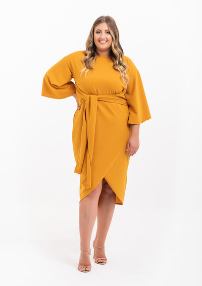 Kimono Sleeve Wrap Over Dress