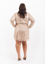Sequin Wrap Skater Dress