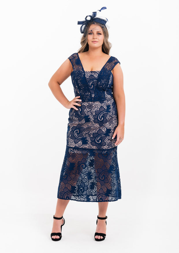 Navy Trumpet Lace Dress