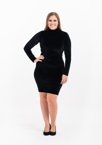 Black High Neck Long Sleeve Velvet Dress