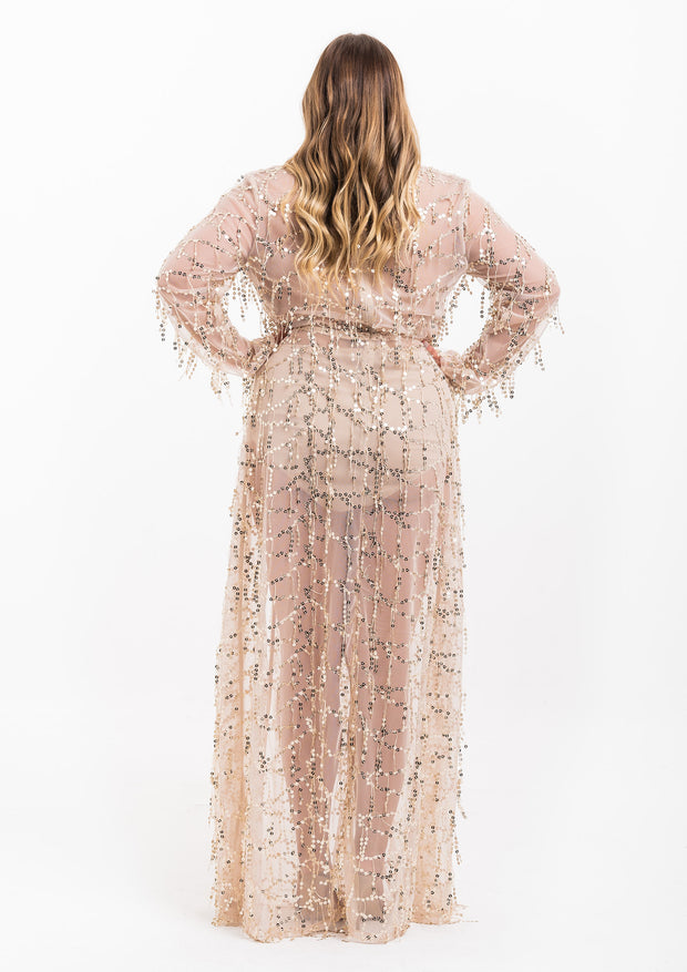 Gold Sequin Sheer Maxi Dress