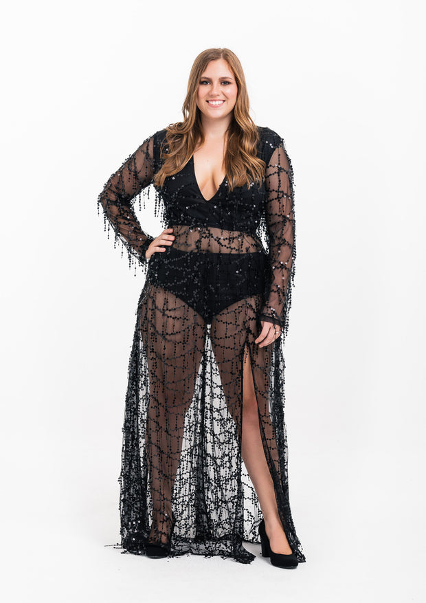 Black Sequin Sheer Maxi Dress