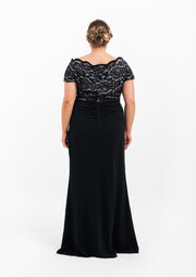 Black Lace Off The Shoulder Evening Gown