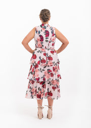 Rose Garden High Neck Ruffle Dress