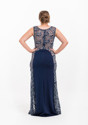Lace Silhouette Navy Gown