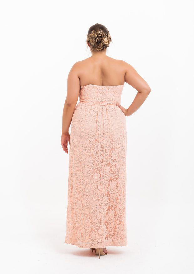Lace Strapless Gown
