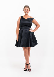 Satin Asymmetric Tulle Dress