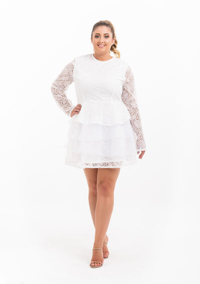 Lace Long Sleeve Tiered Skater Dress