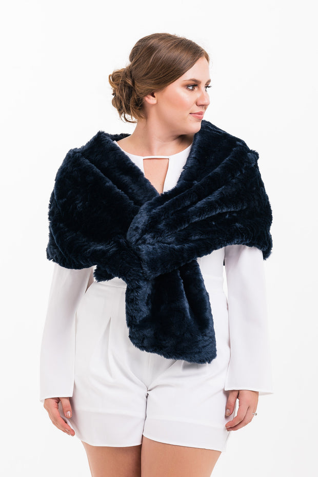 Fur Stole (navy wrap)