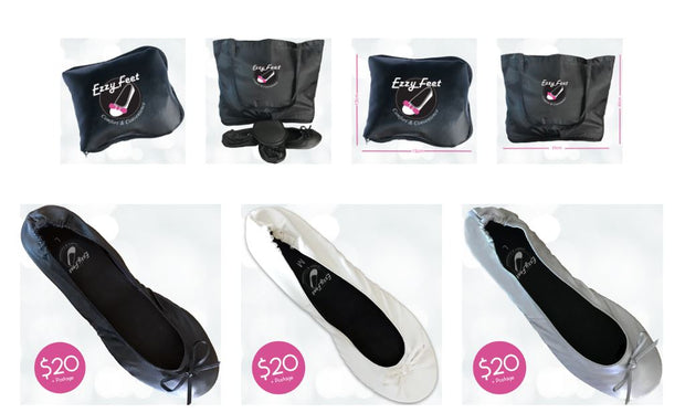 Fold-up Ballet Flats - Ezzy Feet Shoes with carry bag