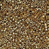DB0034 Miyuki Delica Seed Beads, 11/0 Size, Light 24K Gold Plated